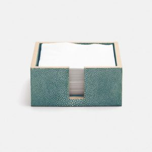 Faux Shagreen Cocktail Napkin Holder Turquoise