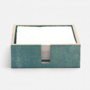 Faux Shagreen Luncheon Napkin Holder Turquoise