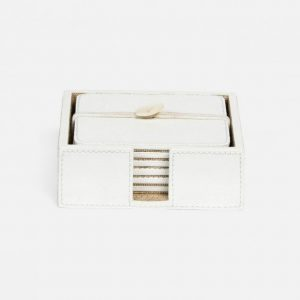 Marine Leather Square Coasters In Bright White