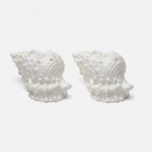 Conch Shell Salt and Pepper Shakers in White Porcelain
