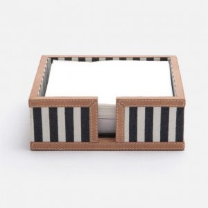 Nautical Striped Cocktail Napkin Holder in Canvas with Leather Trim