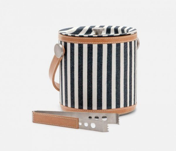 Nautical Striped Ice Bucket and Tongs in Canvas with Leather Trim