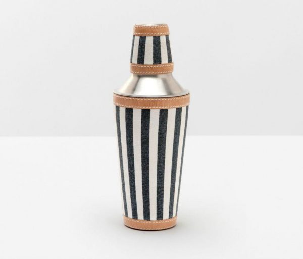 Nautical Striped Cocktail Shaker in Canvas with Leather Trim