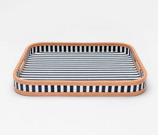 Nautical Striped Rectangular Tray in Canvas with Leather Trim
