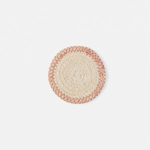 light jute cotton woven coasters in ivory and red, set of 4 #1