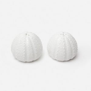 Sea Urchin Salt and Pepper Shakers in White Porcelain