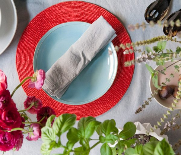 round coral glass bead placemat, set of 4
