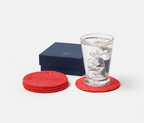 Glass Beaded Round Coasters in Red