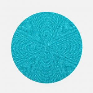 Glass Bead Round Placemat in Turquoise