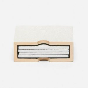 Faux Shagreen Square Coasters in Blanc