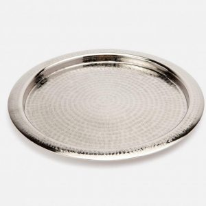 Etched Metal Round Serving Tray in Shiny Nickel