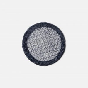 woven round coasters in dark navy, set of 4 #1