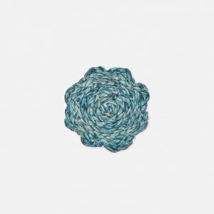 woven round coasters in mixed blues, set of 4 #1