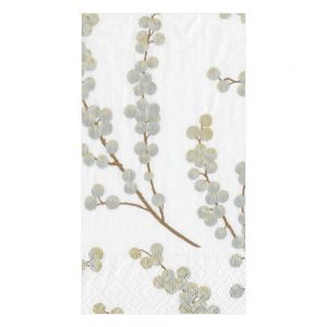 Berry Branches Paper Guest Towel Napkins in White & Silver
