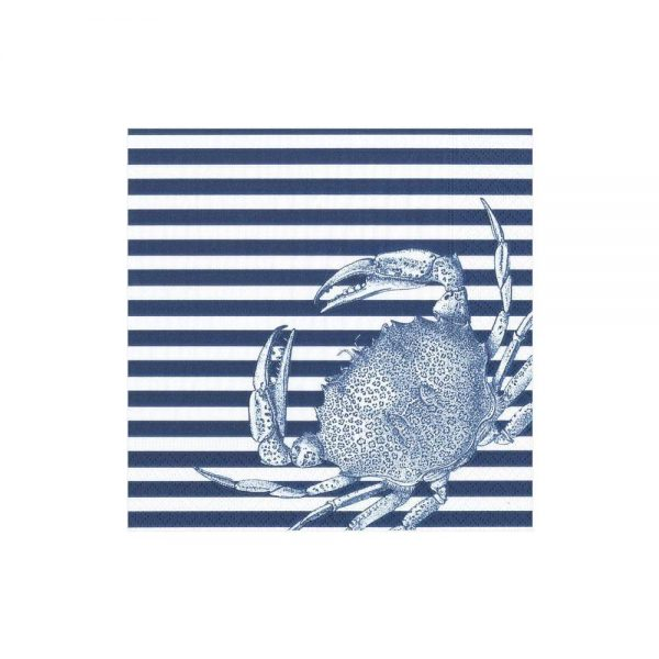 Crabs and Stripes Paper Cocktail Napkins in Blue