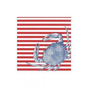 Crabs and Stripes Paper Cocktail Napkins in Red