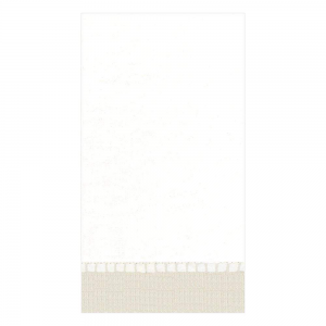 Linen Border Paper Linen Guest Towel Napkins in Natural