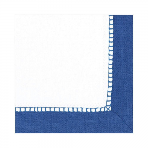Linen Border Paper Luncheon Napkins in Marine Blue