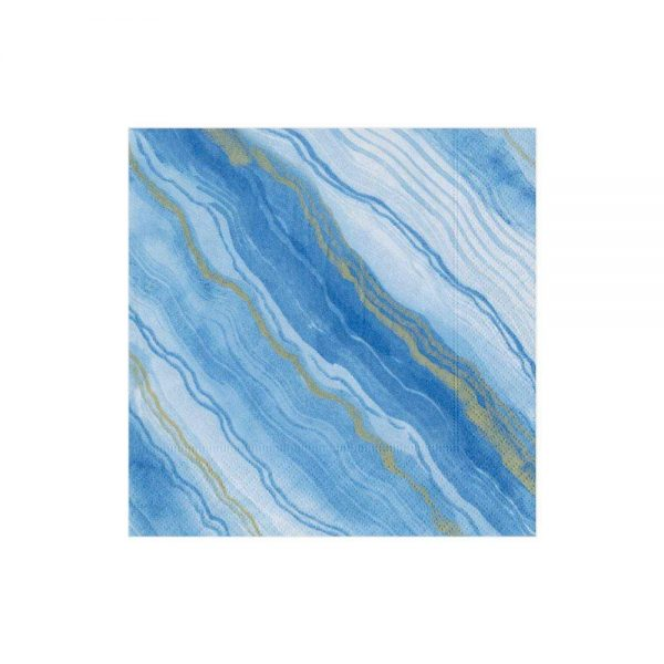 Marble Paper Cocktail Napkins in Blue