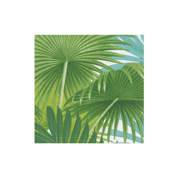 Palm Fronds Paper Cocktail Napkins in white