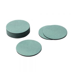 Round Snakeskin Felt Backed Coasters in Mist