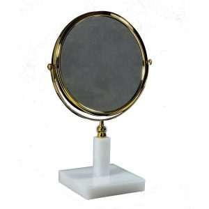 White 3x Magnifying Mirror Gold