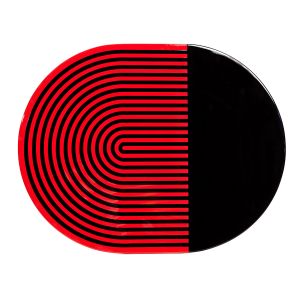 Black & Red Half Stripe Lacquer Placemat