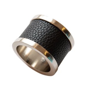 Black Zinc & Leather Napkin Ring (1)