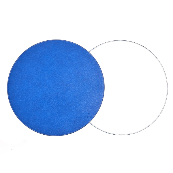Blue & White Round Reversible Placemat