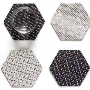 Hex Coasters Black and White