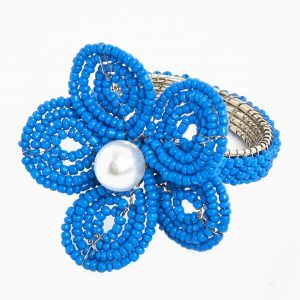 Navy Floral Napkin Ring