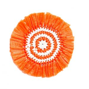 Orange & White Woven Fringe Coasters Set of 4