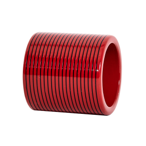 Red & Black Lacquer Stripe Napkin Ring