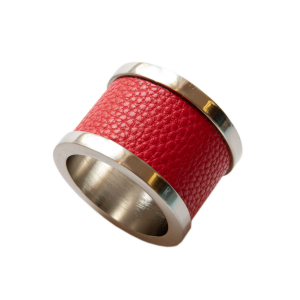 Red Zinc & Leather Napkin Ring (2)