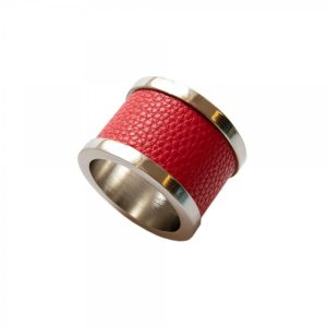 Red Zinc & Leather Napkin Ring