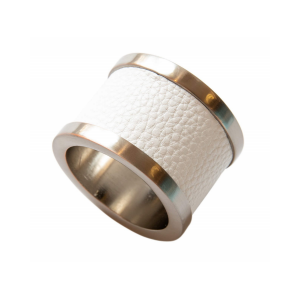 White Zinc & Leather Napkin Ring