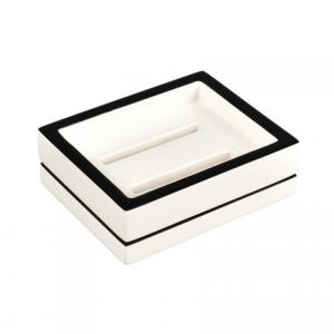 White with Black trim Soap Dish
