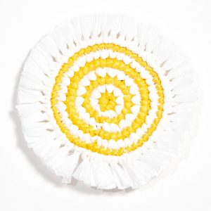 woven fringe coaster white canary yellow