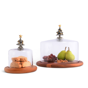 Christmas Tree Glass Covered Cheese Wood Board