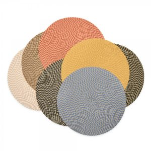 Khaki Weave 15 Round Placemat Lifestyle