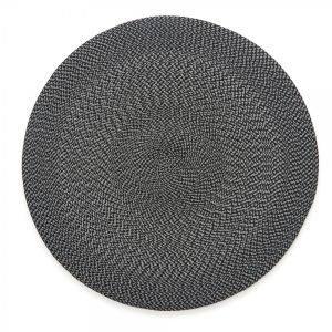 Round Twill Placemat Black Grey