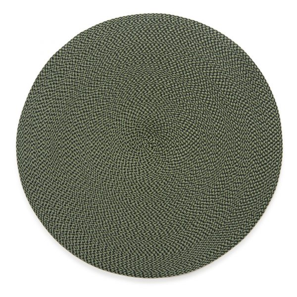 Round Twill Placemat Black Moss