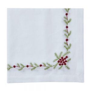 Winter Woods Embroidered Napkin