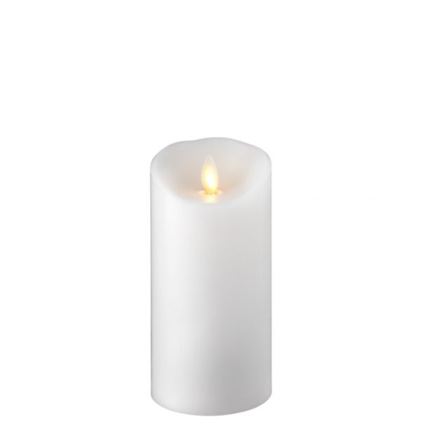 3.5 x 7.5 Moving Flame Flameless White Pillar Candle