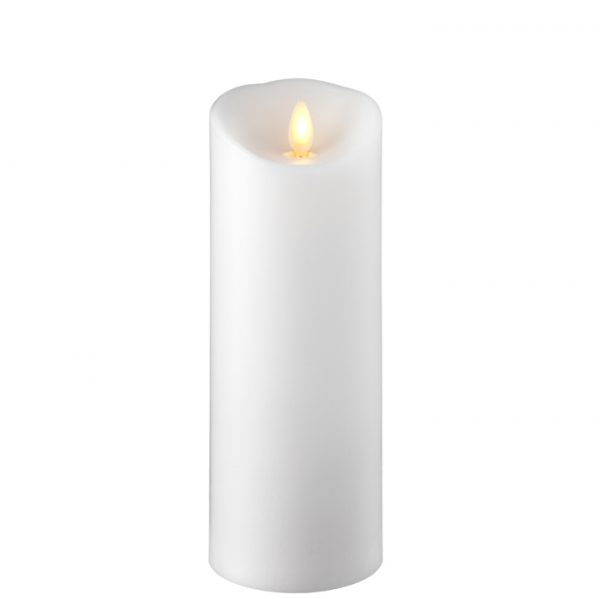 3.5 x 9 Moving Flame Flameless White Pillar Candle