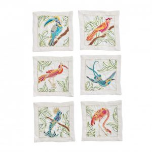Birds of paradise cocktail napkins in white and multi