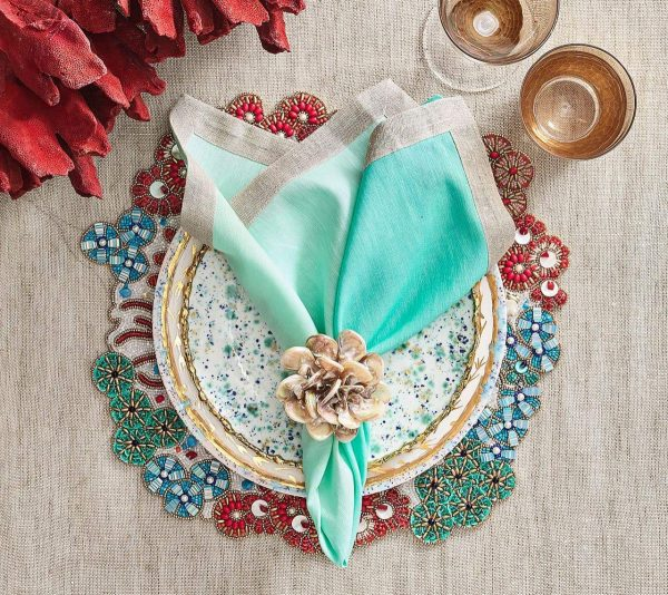 Cozumel Placemat in Turquoise Coral and Gold Lifestyle 1