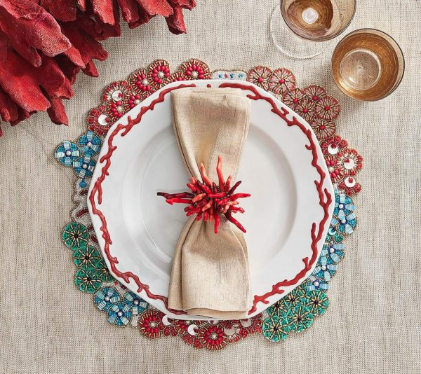 Cozumel Placemat in Turquoise Coral and Gold Lifestyle 2