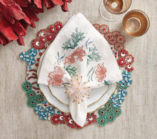 Cozumel Placemat in Turquoise Coral and Gold Lifestyle