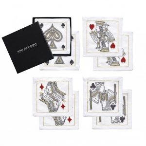 House of Cards Cocktail Napkins in White Red & Black Set of 8